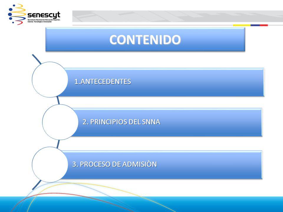 1.ANTECEDENTES 2. PRINCIPIOS DEL SNNA 3. PROCESO DE ADMISIÒN CONTENIDOCONTENIDO
