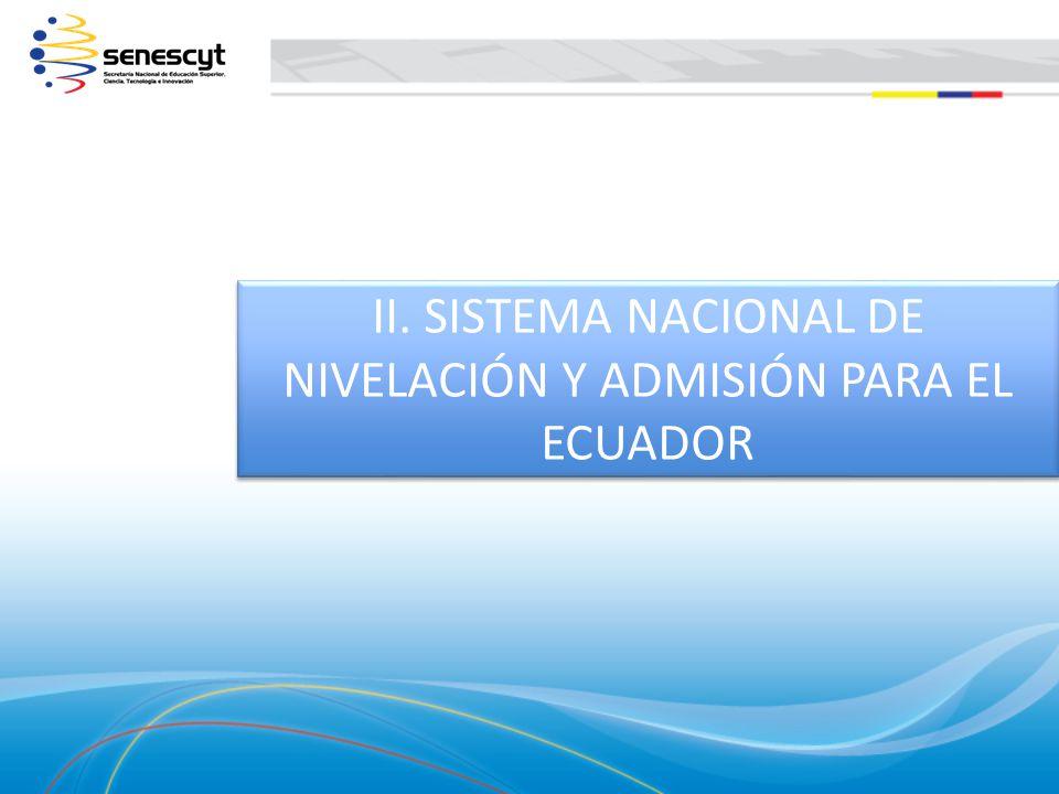 II. SISTEMA NACIONAL DE NIVELACIÓN Y ADMISIÓN PARA EL ECUADOR II. SISTEMA NACIONAL DE NIVELACIÓN Y ADMISIÓN PARA EL ECUADOR