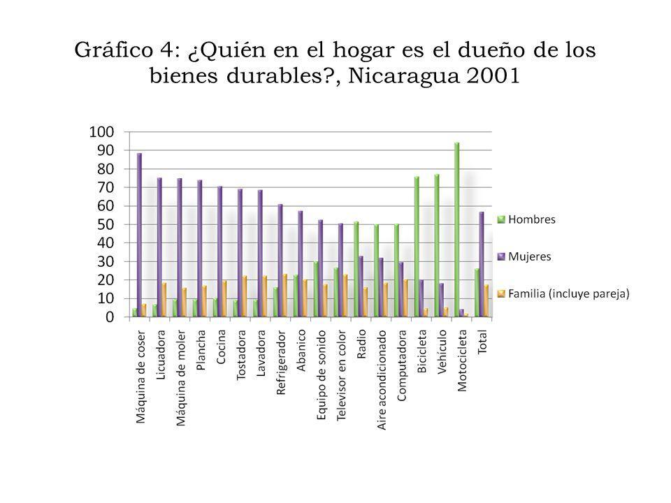 Gráfico 4: ¿Quién en el hogar es el dueño de los bienes durables?, Nicaragua 2001