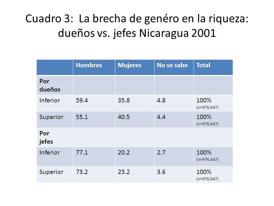 Cuadro 3: La brecha de genéro en la riqueza: dueños vs. jefes Nicaragua 2001 HombresMujeresNo se sabeTotal Por dueños Inferior59.435.84.8100% (n=976,6