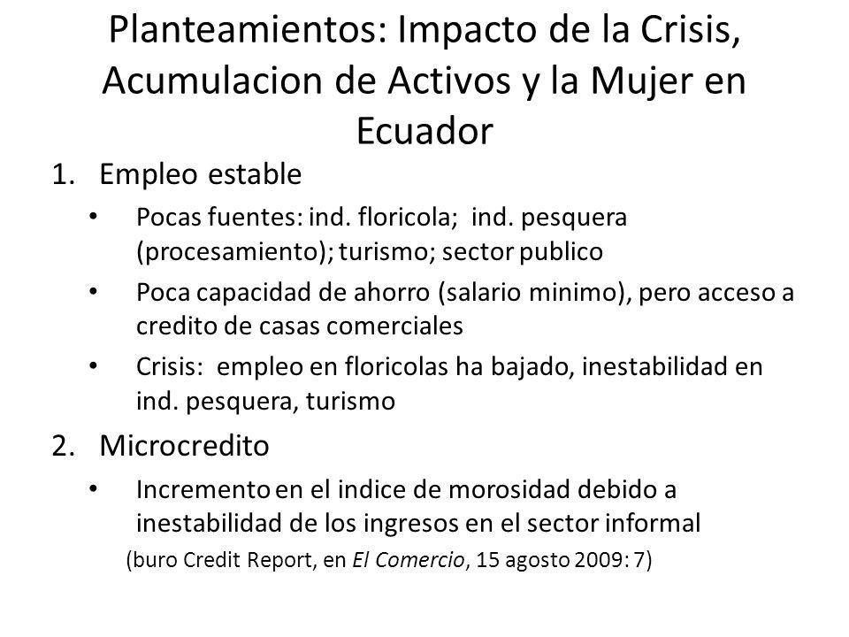 Planteamientos: Impacto de la Crisis, Acumulacion de Activos y la Mujer en Ecuador 1.Empleo estable Pocas fuentes: ind. floricola; ind. pesquera (proc