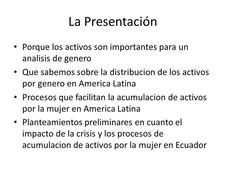La Presentación Porque los activos son importantes para un analisis de genero Que sabemos sobre la distribucion de los activos por genero en America L