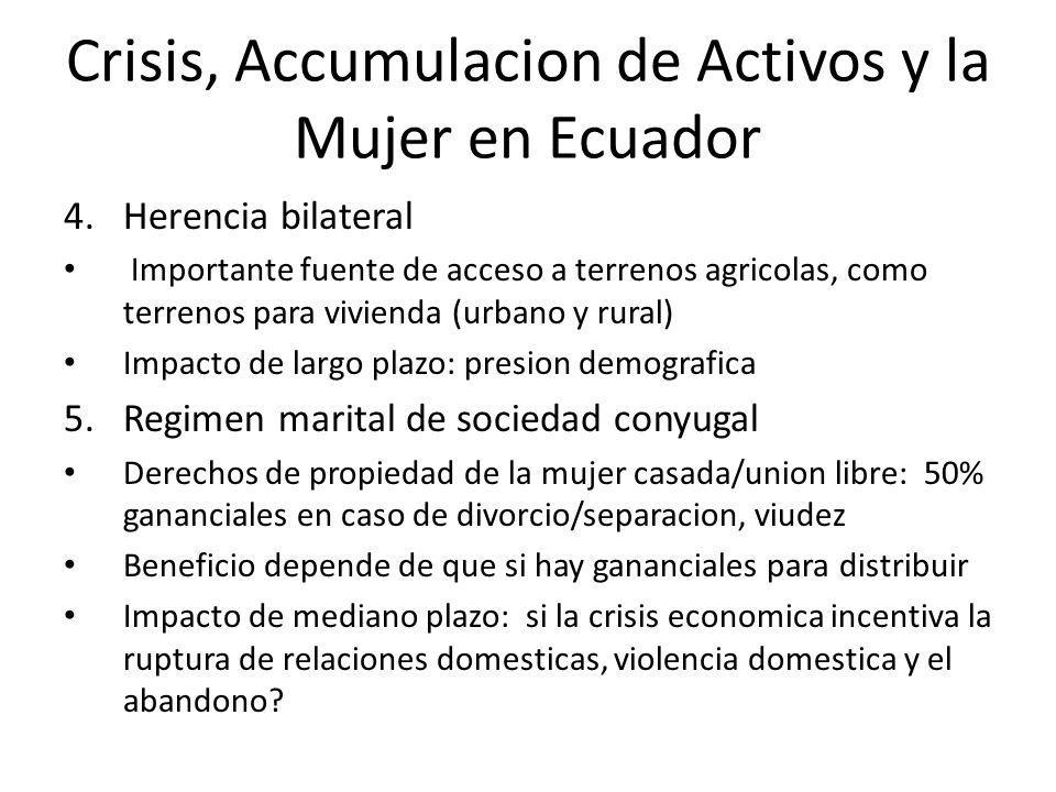 Crisis, Accumulacion de Activos y la Mujer en Ecuador 4.Herencia bilateral Importante fuente de acceso a terrenos agricolas, como terrenos para vivien