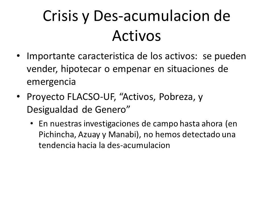 Crisis y Des-acumulacion de Activos Importante caracteristica de los activos: se pueden vender, hipotecar o empenar en situaciones de emergencia Proye