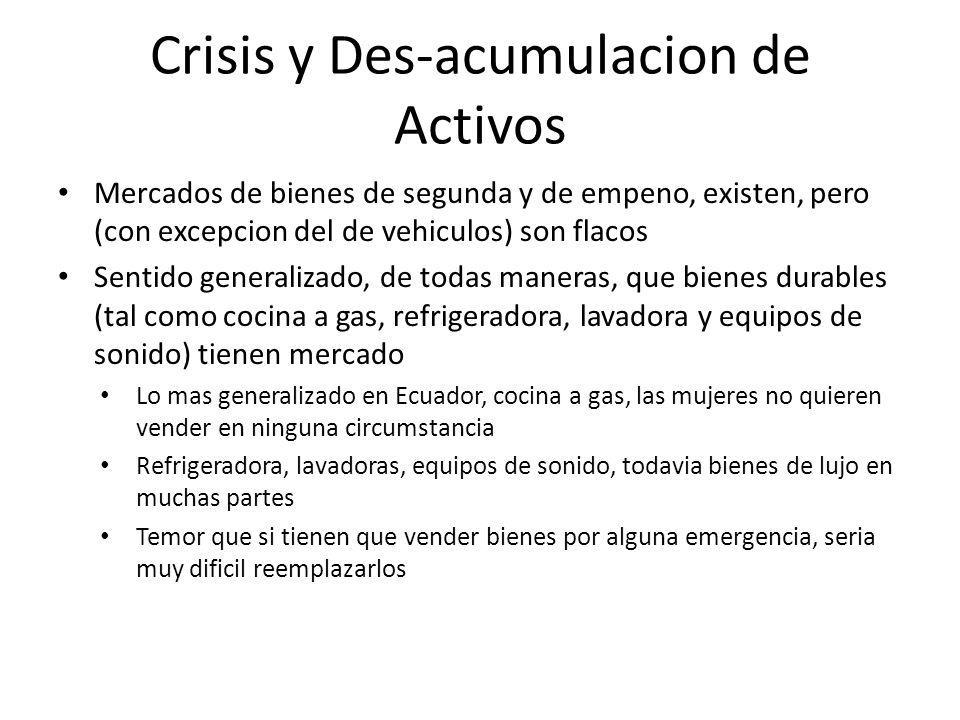 Crisis y Des-acumulacion de Activos Mercados de bienes de segunda y de empeno, existen, pero (con excepcion del de vehiculos) son flacos Sentido gener
