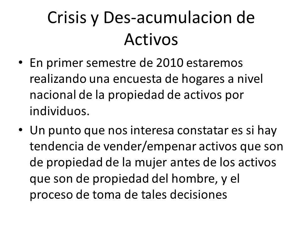 Crisis y Des-acumulacion de Activos En primer semestre de 2010 estaremos realizando una encuesta de hogares a nivel nacional de la propiedad de activo