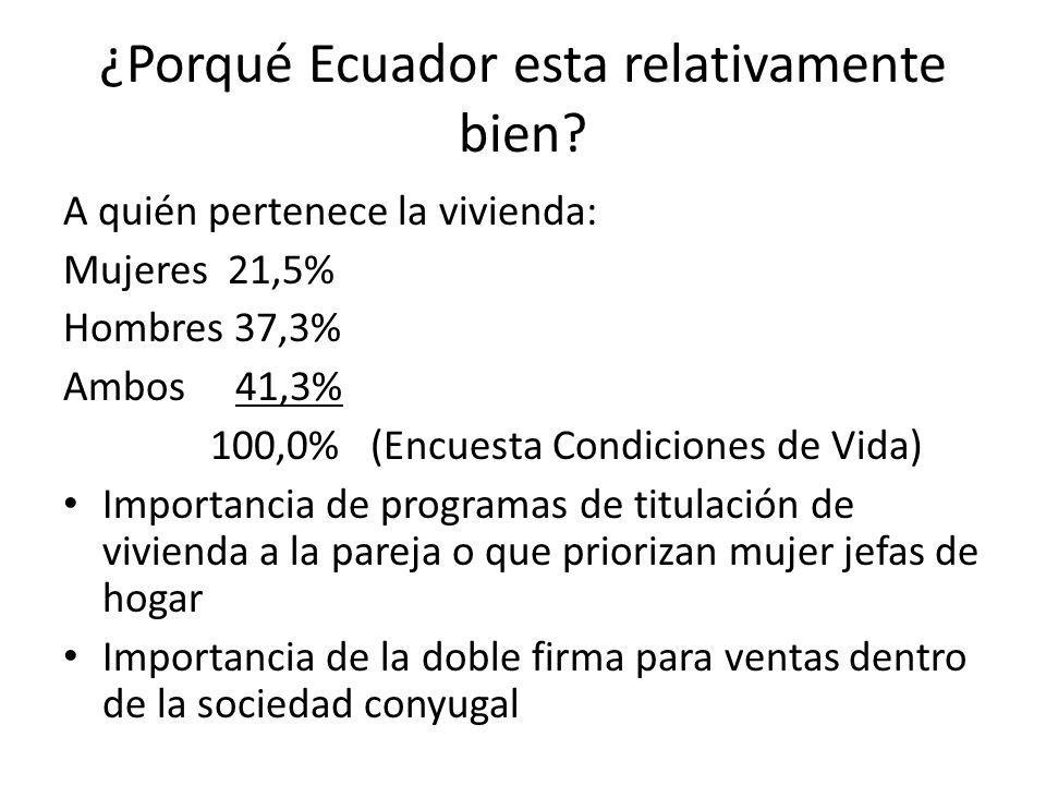 ¿Porqué Ecuador esta relativamente bien? A quién pertenece la vivienda: Mujeres 21,5% Hombres 37,3% Ambos 41,3% 100,0% (Encuesta Condiciones de Vida)