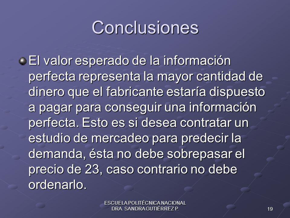 19 ESCUELA POLITÉCNICA NACIONAL DRA.SANDRA GUTIÉRREZ P.