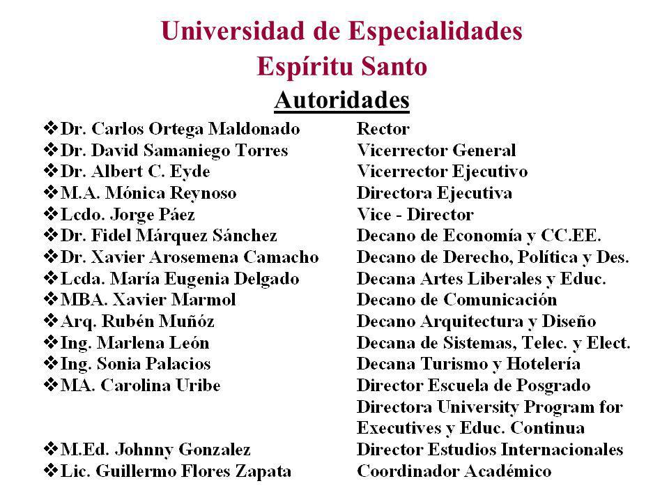 Universidad de Especialidades Espíritu Santo Autoridades
