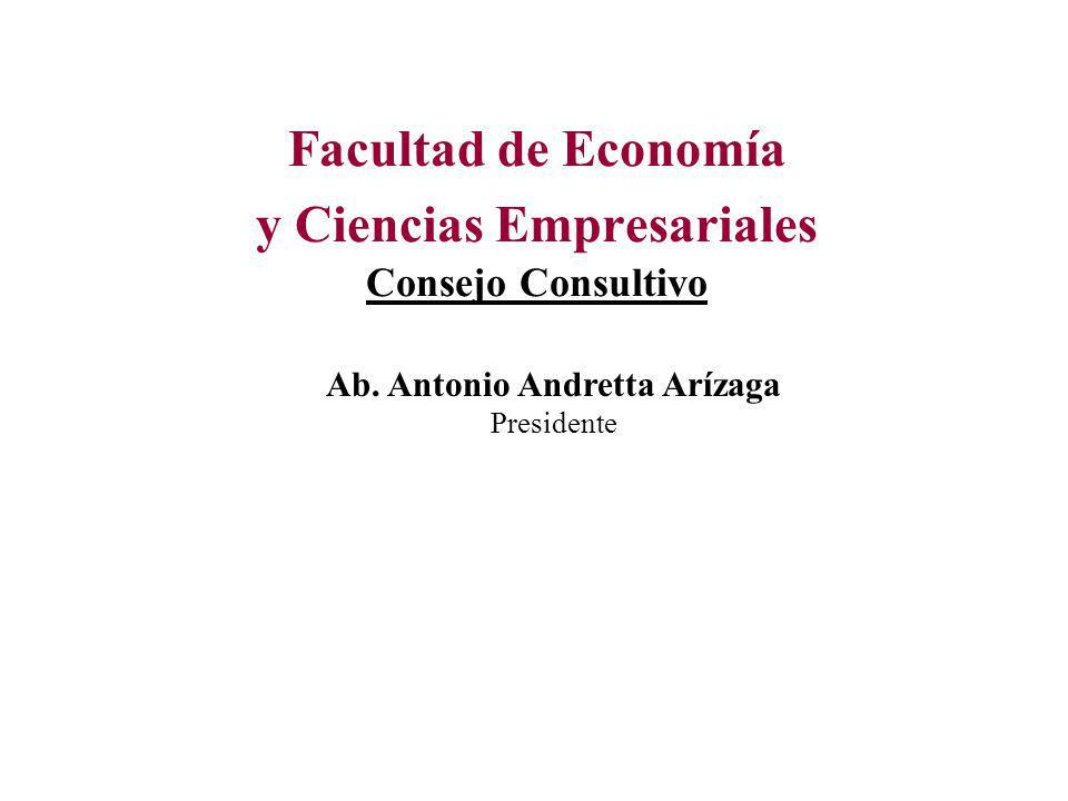 Facultad de Economía y Ciencias Empresariales Consejo Consultivo Ab. Antonio Andretta Arízaga Presidente