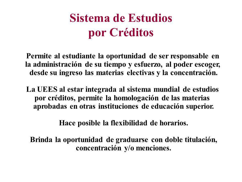 Sistema de Estudios por Créditos Permite al estudiante la oportunidad de ser responsable en la administración de su tiempo y esfuerzo, al poder escoger, desde su ingreso las materias electivas y la concentración.