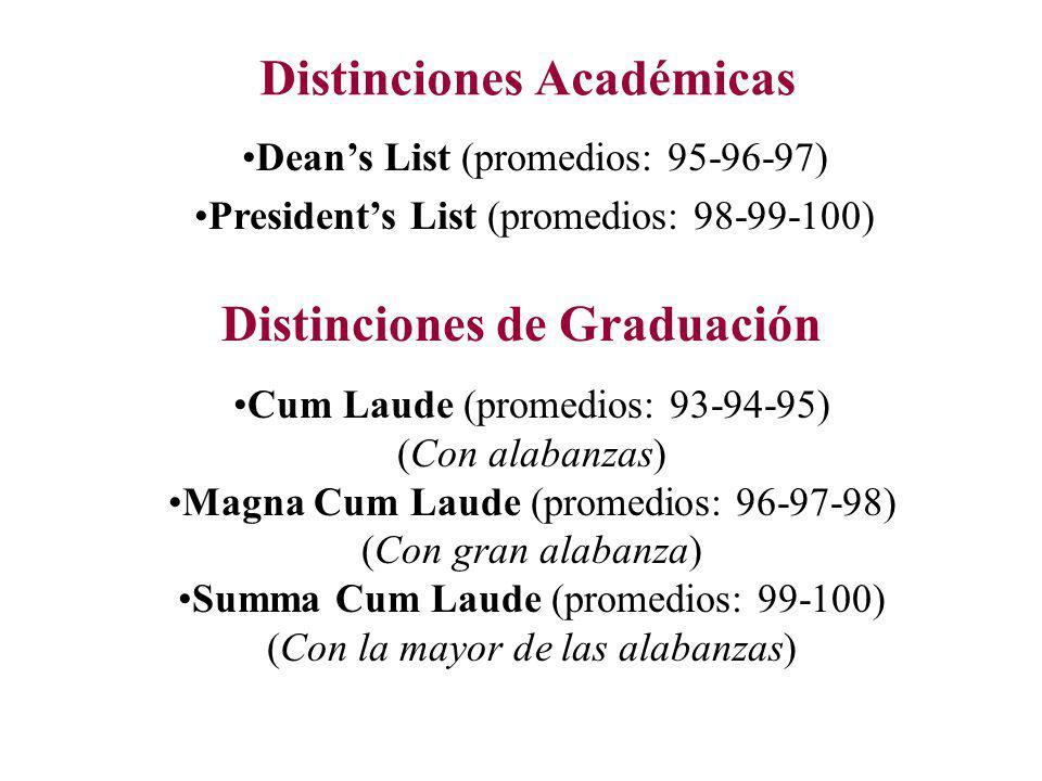 Distinciones Académicas Distinciones de Graduación Deans List (promedios: 95-96-97) Presidents List (promedios: 98-99-100) Cum Laude (promedios: 93-94-95) (Con alabanzas) Magna Cum Laude (promedios: 96-97-98) (Con gran alabanza) Summa Cum Laude (promedios: 99-100) (Con la mayor de las alabanzas)