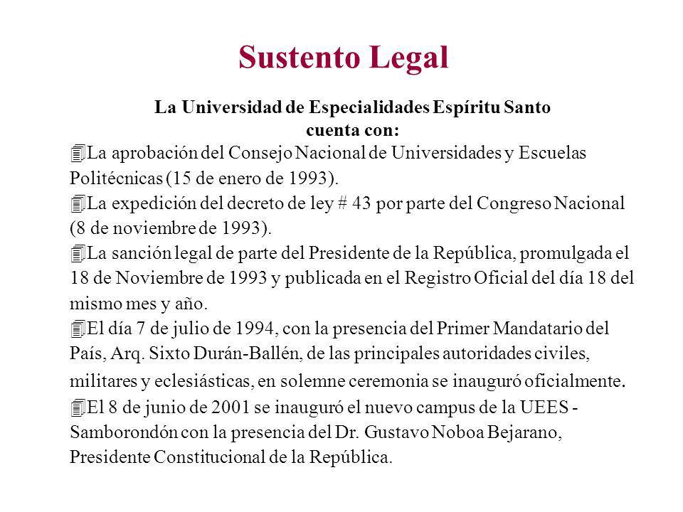 Sustento Legal La Universidad de Especialidades Espíritu Santo cuenta con: 4La aprobación del Consejo Nacional de Universidades y Escuelas Politécnicas (15 de enero de 1993).