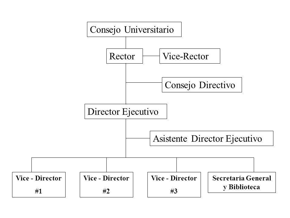 Secretaría General y Biblioteca Consejo Universitario RectorVice-Rector Consejo Directivo Director Ejecutivo Asistente Director Ejecutivo Vice - Director #1 Vice - Director #2 Vice - Director #3