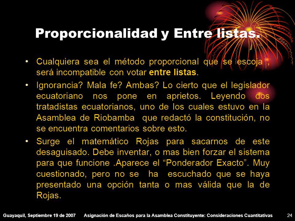 Guayaquil, Septiembre 19 de 2007Asignación de Escaños para la Asamblea Constituyente: Consideraciones Cuantitativas24 Proporcionalidad y Entre listas.
