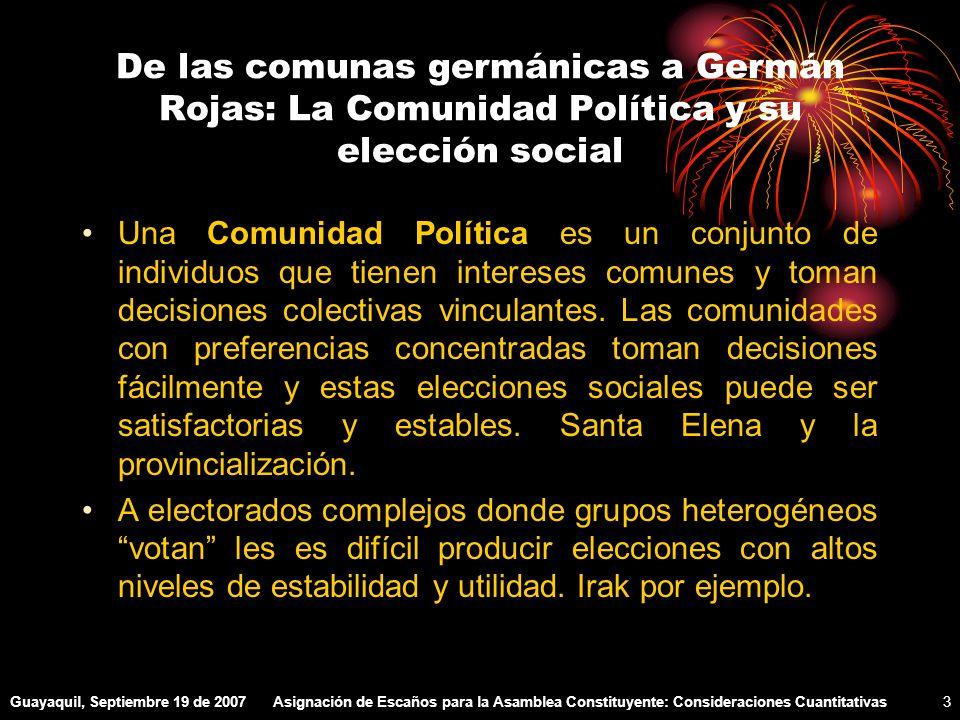 Guayaquil, Septiembre 19 de 2007Asignación de Escaños para la Asamblea Constituyente: Consideraciones Cuantitativas34 Reflexiones Favorece el sistema vigente a la Plancha.