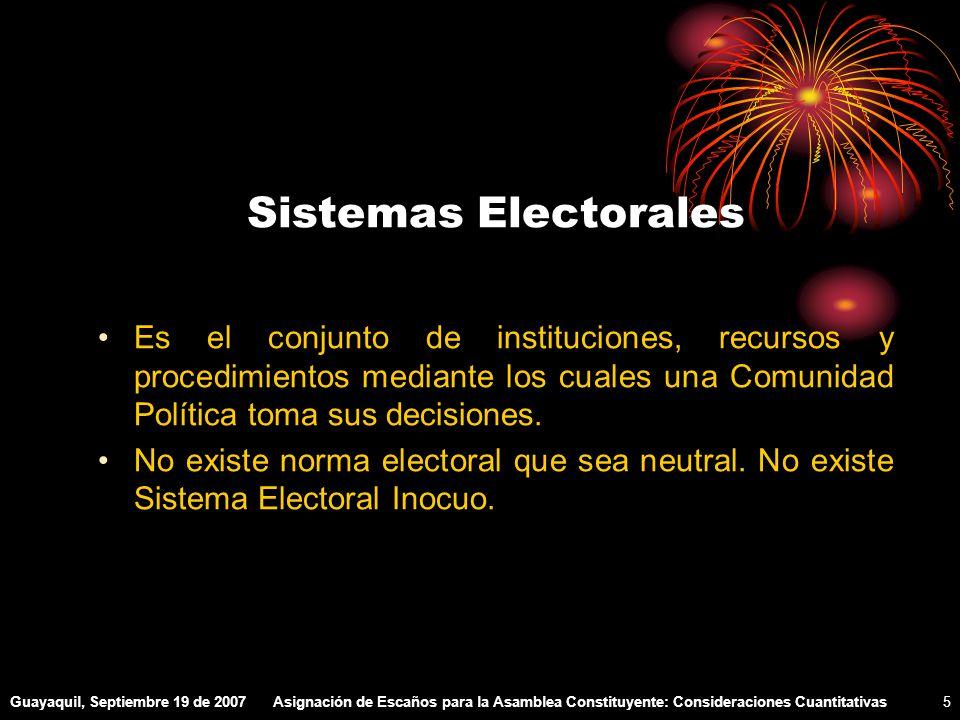 Guayaquil, Septiembre 19 de 2007Asignación de Escaños para la Asamblea Constituyente: Consideraciones Cuantitativas5 Sistemas Electorales Es el conjunto de instituciones, recursos y procedimientos mediante los cuales una Comunidad Política toma sus decisiones.