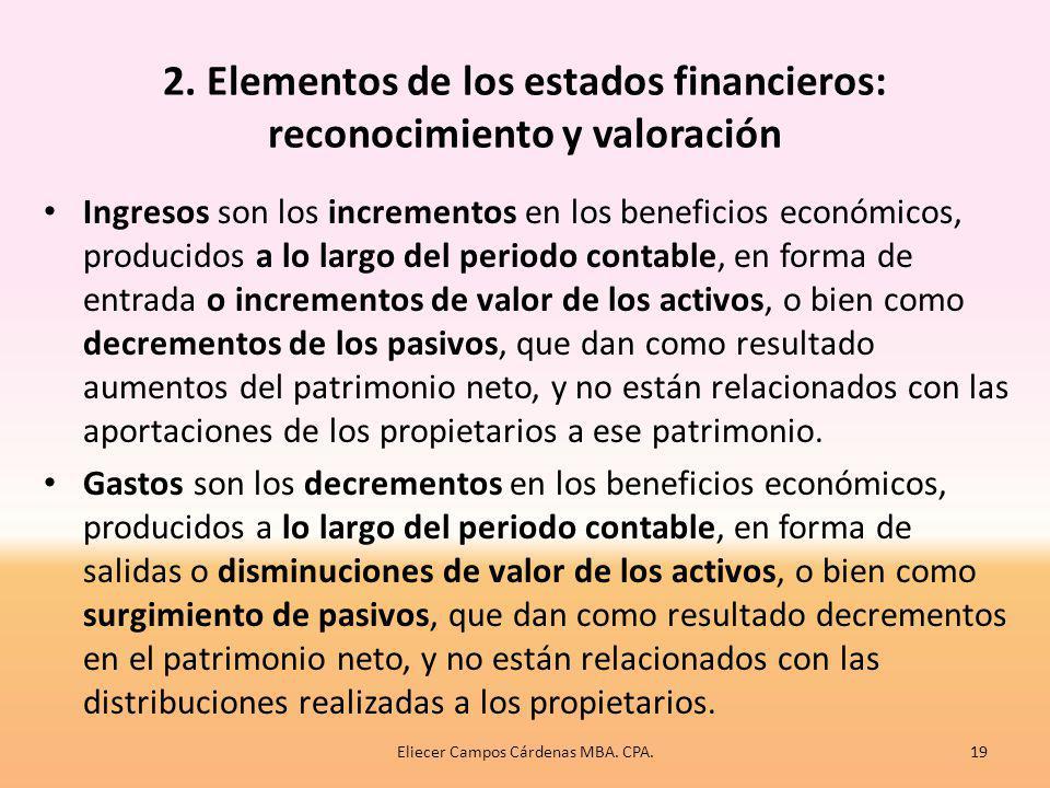 2. Elementos de los estados financieros: reconocimiento y valoración Un activo es un recurso controlado por la entidad, como consecuencia de sucesos p