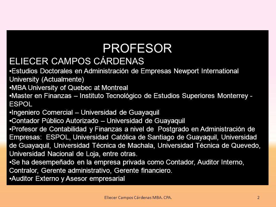Definición de elementos Criterios de reconocimiento de elementos NECESIDADES DE LOS USUARIOS Estados financieros OBJETIVOS CARACTERÍSTICAS CUALITATIVAS HIPÓTESIS FUNDAMENTALES VALORACIÓN M a r c o C o n c e p t u a l 12Eliecer Campos Cárdenas MBA.