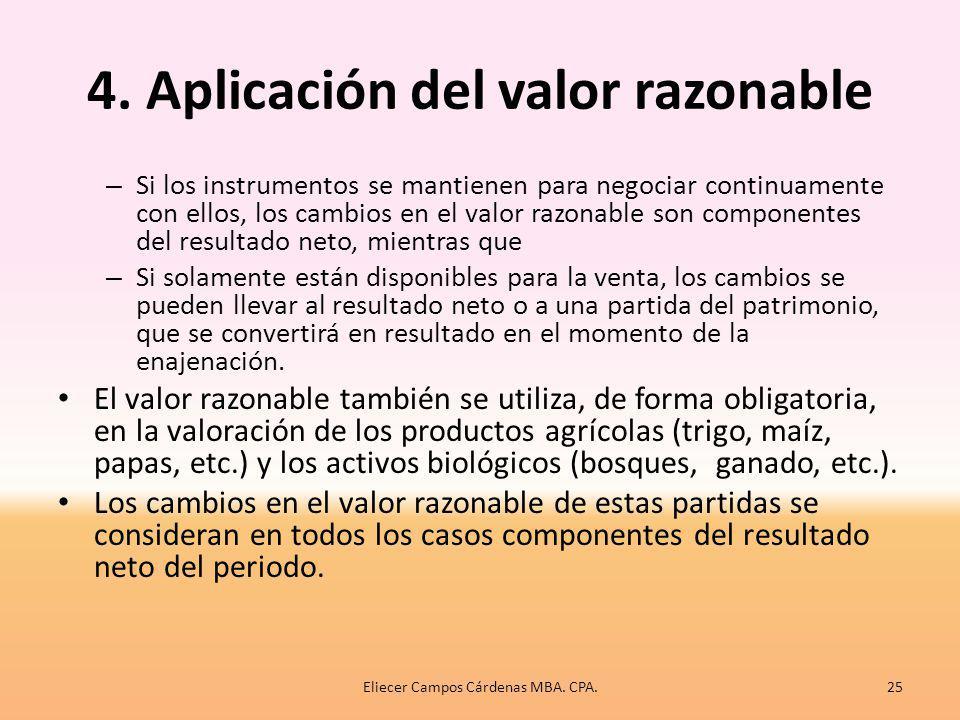 4. Aplicación del valor razonable El VR se utiliza obligatoriamente en todos los instrumentos financieros que la empresa posea, salvo que sean préstam