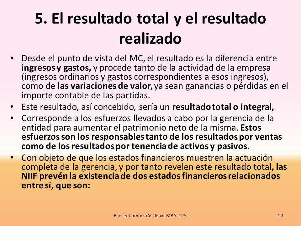 5. El resultado total y el resultado realizado La determinación del resultado no es la finalidad primordial de los E/F, según el MC, sino que surge de