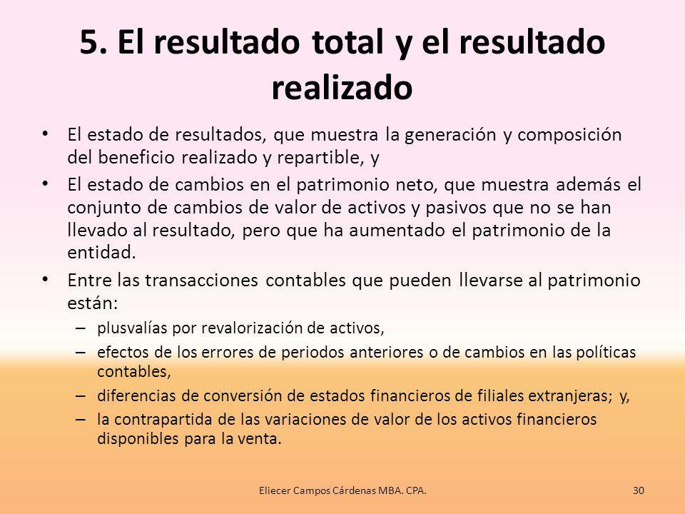 5. El resultado total y el resultado realizado Desde el punto de vista del MC, el resultado es la diferencia entre ingresos y gastos, y procede tanto