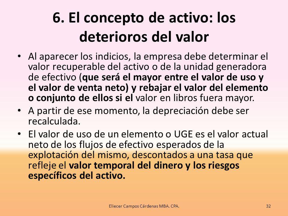 6. El concepto de activo: los deterioros del valor El reconocimiento de un activo adquirido por la empresa está sujeto al control del mismo a raíz de