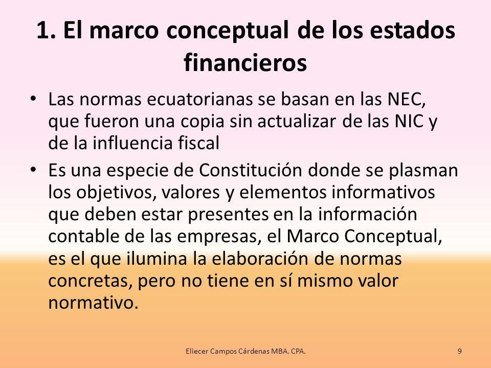 Principales aspectos de las NIIF 1.El marco conceptual de los estados financieros 2.Elementos de los estados financieros: reconocimiento y valoración