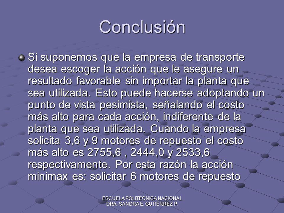 ESCUELA POLITÉCNICA NACIONAL DRA. SANDRA E. GUTIÉRREZ P. Conclusión Si suponemos que la empresa de transporte desea escoger la acción que le asegure u