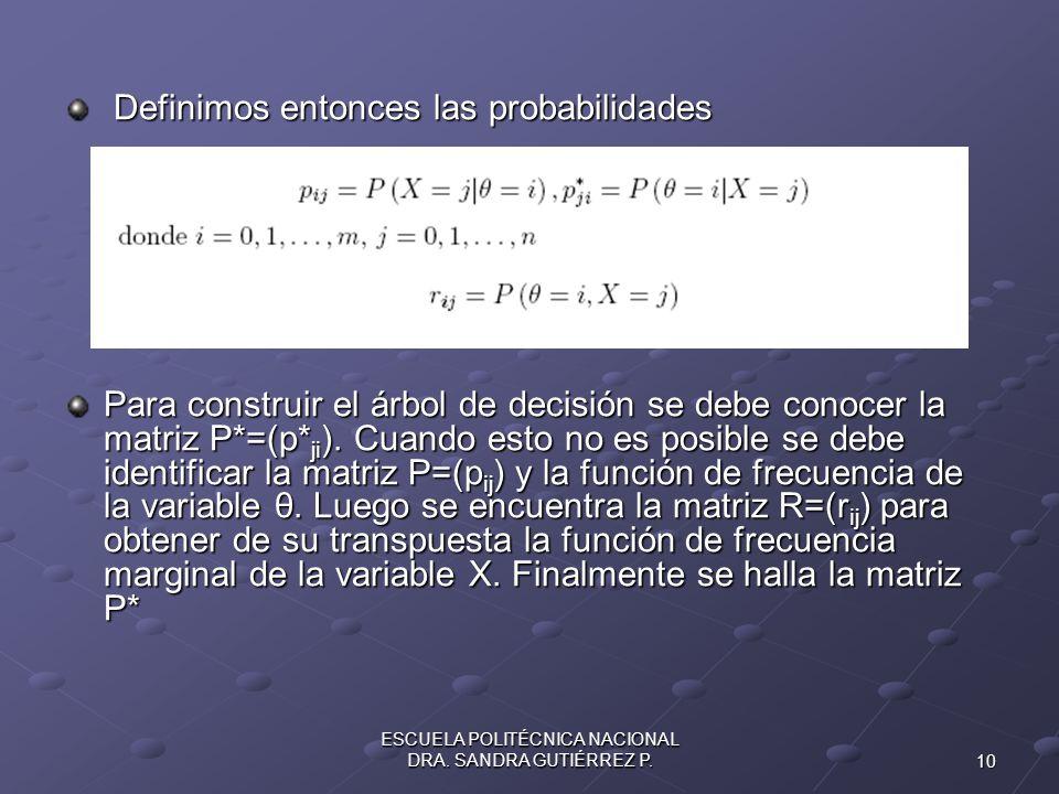 10 ESCUELA POLITÉCNICA NACIONAL DRA. SANDRA GUTIÉRREZ P. Definimos entonces las probabilidades Definimos entonces las probabilidades Para construir el