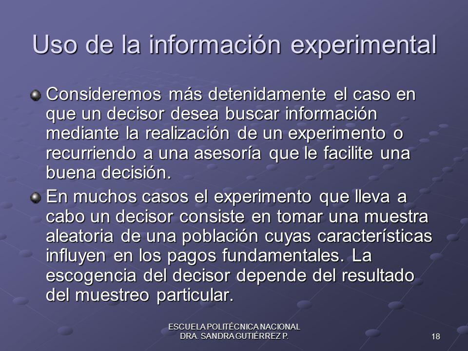 18 ESCUELA POLITÉCNICA NACIONAL DRA. SANDRA GUTIÉRREZ P. Uso de la información experimental Consideremos más detenidamente el caso en que un decisor d