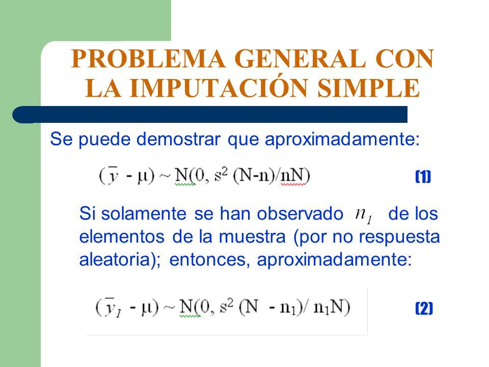 PROBLEMA GENERAL CON LA IMPUTACIÓN SIMPLE Se puede demostrar que aproximadamente: (1) Si solamente se han observado de los elementos de la muestra (po