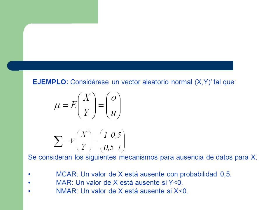 Se consideran los siguientes mecanismos para ausencia de datos para X: MCAR: Un valor de X está ausente con probabilidad 0,5. MAR: Un valor de X está