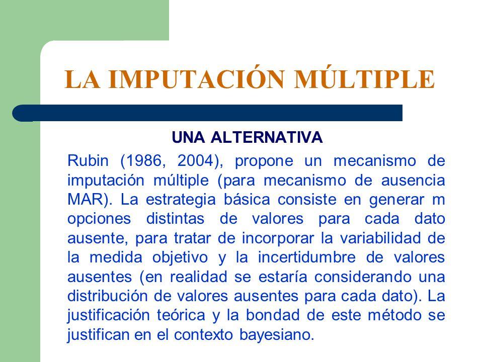 LA IMPUTACIÓN MÚLTIPLE UNA ALTERNATIVA Rubin (1986, 2004), propone un mecanismo de imputación múltiple (para mecanismo de ausencia MAR). La estrategia