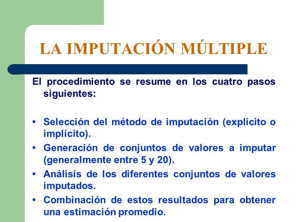 LA IMPUTACIÓN MÚLTIPLE El procedimiento se resume en los cuatro pasos siguientes: Selección del método de imputación (explícito o implícito). Generaci