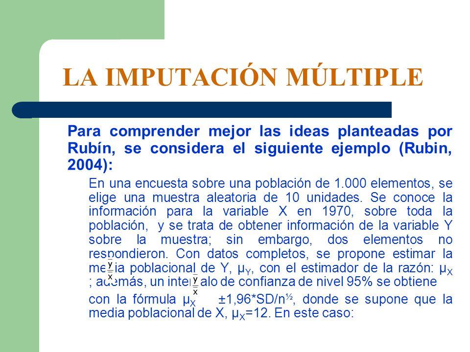 LA IMPUTACIÓN MÚLTIPLE Para comprender mejor las ideas planteadas por Rubín, se considera el siguiente ejemplo (Rubin, 2004): En una encuesta sobre un