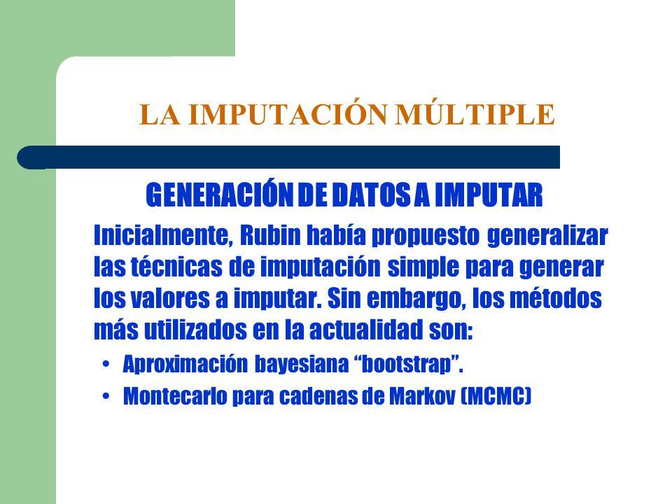 LA IMPUTACIÓN MÚLTIPLE GENERACIÓN DE DATOS A IMPUTAR Inicialmente, Rubin había propuesto generalizar las técnicas de imputación simple para generar lo