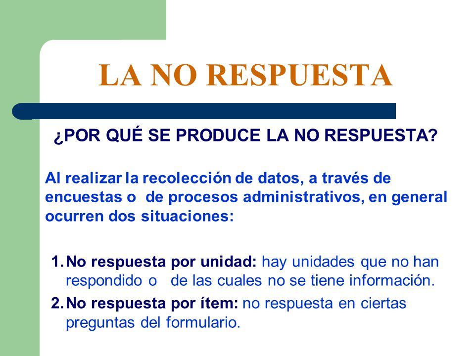 LA NO RESPUESTA LA SOLUCIÓN INICIAL: No respuesta por unidad: trabajar solamente con los datos entregados (se ignora a quienes no tienen información).