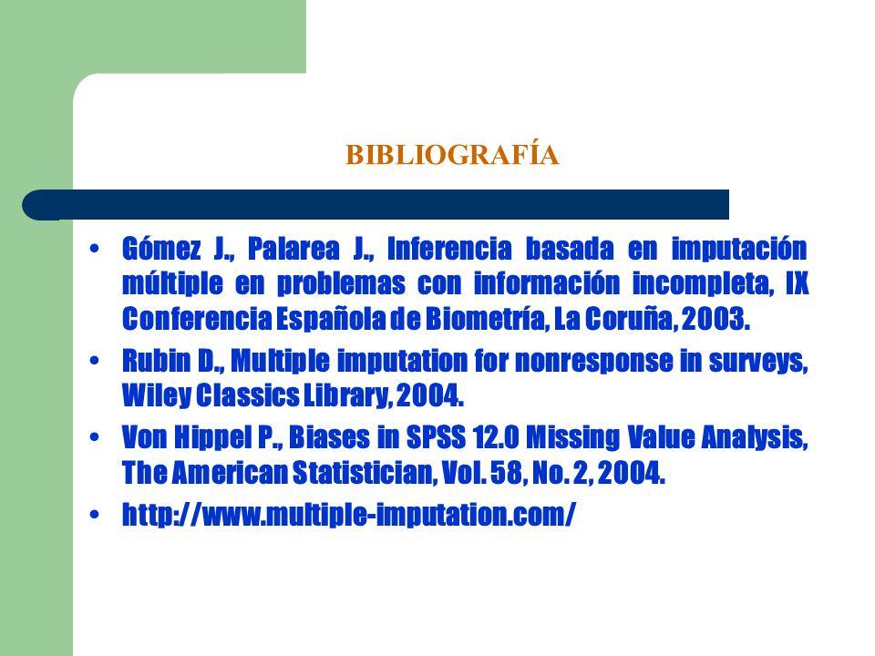 BIBLIOGRAFÍA Gómez J., Palarea J., Inferencia basada en imputación múltiple en problemas con información incompleta, IX Conferencia Española de Biomet