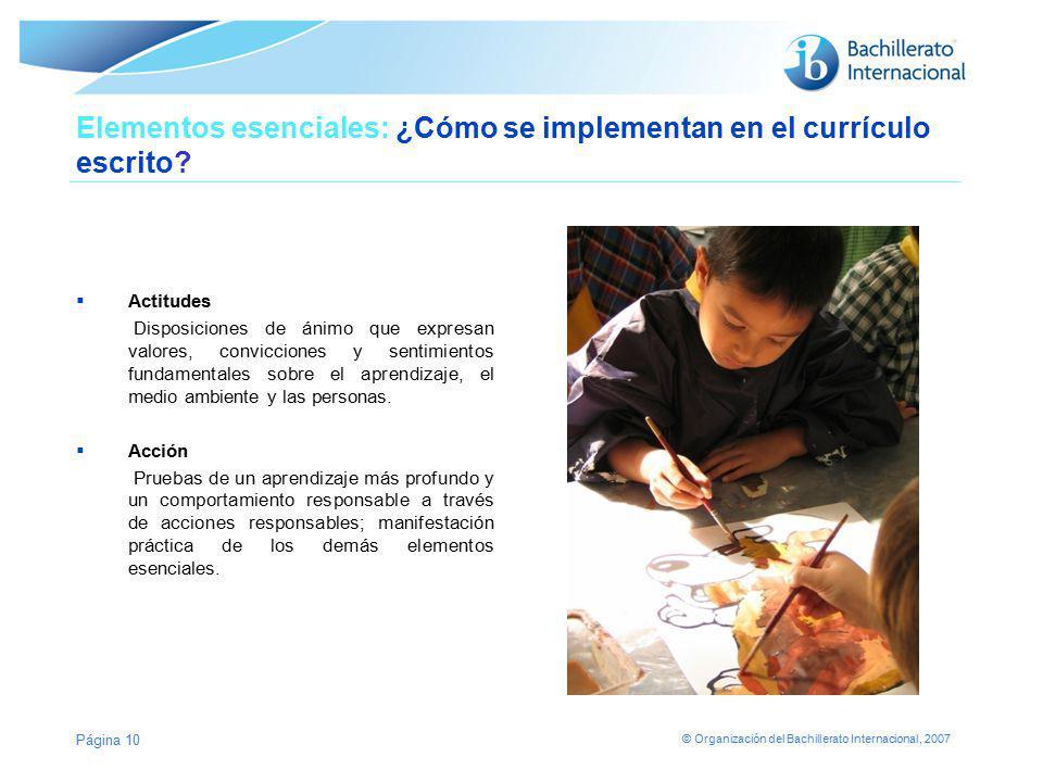 © Organización del Bachillerato Internacional, 2007 Elementos esenciales: ¿Cómo se implementan en el currículo escrito? Actitudes Disposiciones de áni