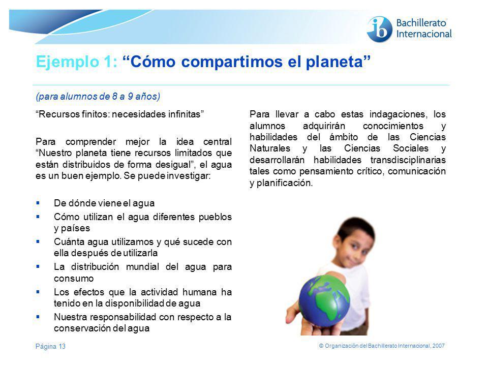 © Organización del Bachillerato Internacional, 2007 Ejemplo 1: Cómo compartimos el planeta (para alumnos de 8 a 9 años) Recursos finitos: necesidades