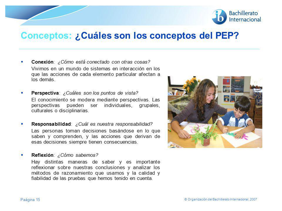 © Organización del Bachillerato Internacional, 2007 Conceptos: ¿Cuáles son los conceptos del PEP? Conexión: ¿Cómo está conectado con otras cosas? Vivi