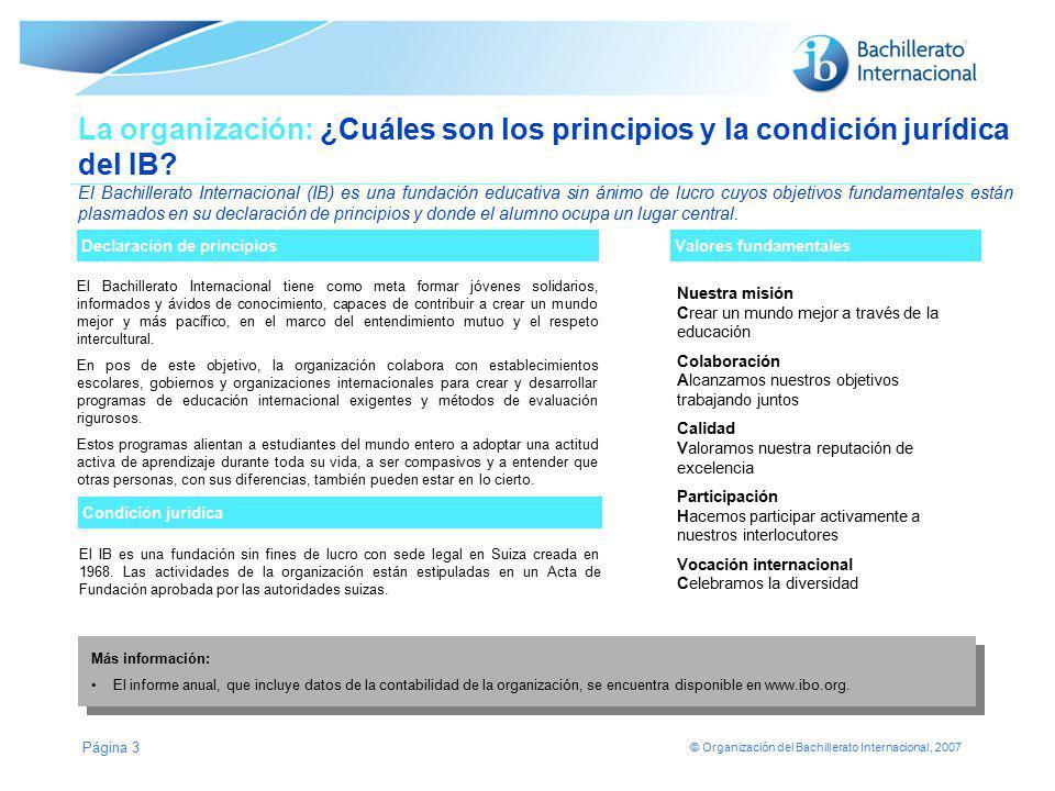 © Organización del Bachillerato Internacional, 2007 Página 3 Declaración de principios La organización: ¿Cuáles son los principios y la condición jurí