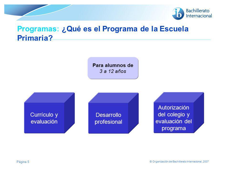 © Organización del Bachillerato Internacional, 2007 Página 5 Programas: ¿Qué es el Programa de la Escuela Primaria? Currículo y evaluación Desarrollo