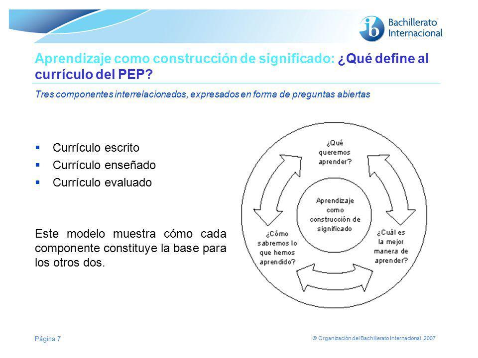 © Organización del Bachillerato Internacional, 2007 Página 7 Aprendizaje como construcción de significado: ¿Qué define al currículo del PEP? Tres comp