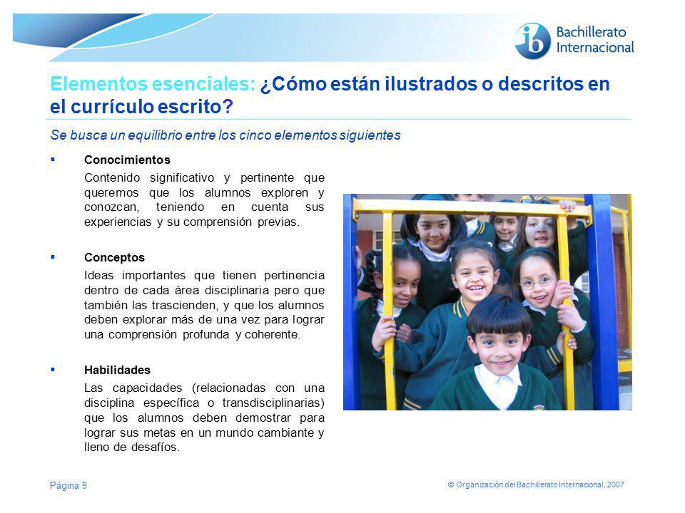 © Organización del Bachillerato Internacional, 2007 Elementos esenciales: ¿Cómo están ilustrados o descritos en el currículo escrito? Se busca un equi