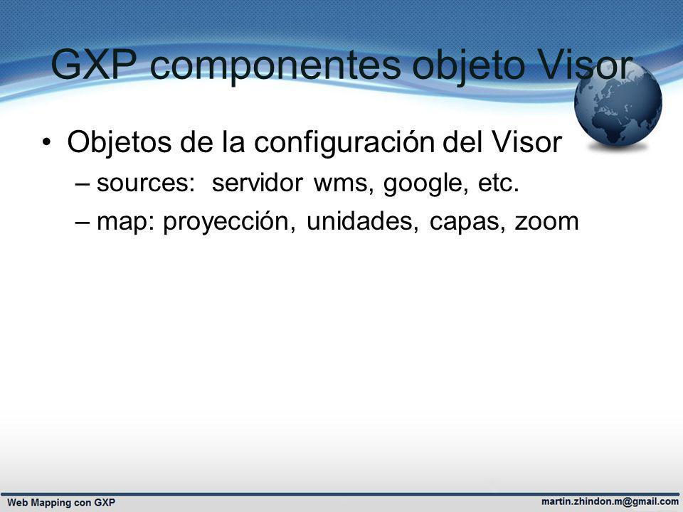 GXP componentes objeto Visor Objetos de la configuración del Visor –sources: servidor wms, google, etc. –map: proyección, unidades, capas, zoom