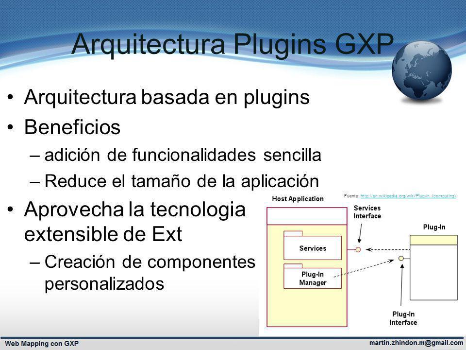 Arquitectura Plugins GXP Arquitectura basada en plugins Beneficios –adición de funcionalidades sencilla –Reduce el tamaño de la aplicación Aprovecha la tecnologia extensible de Ext –Creación de componentes personalizados http://en.wikipedia.org/wiki/Plug-in_(computing) Fuente: