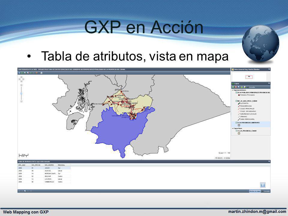 GXP en Acción Tabla de atributos, vista en mapa