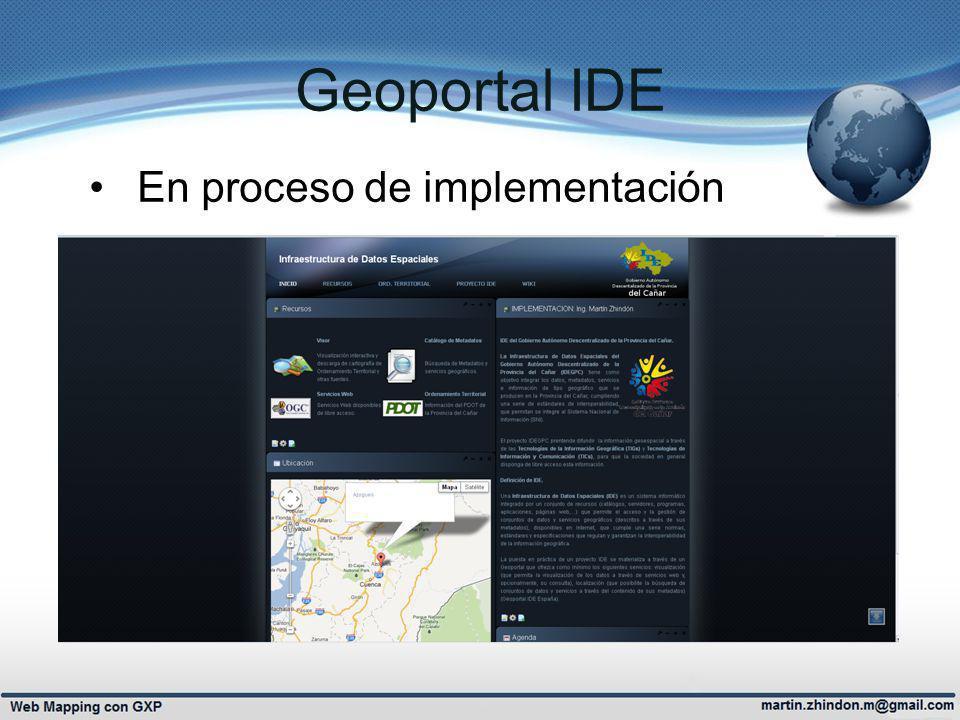 Geoportal IDE En proceso de implementación